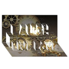 Steampunk, Golden Design With Clocks And Gears Laugh Live Love 3d Greeting Card (8x4)