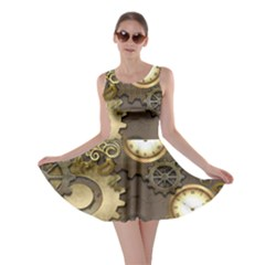 Steampunk, Golden Design With Clocks And Gears Skater Dresses