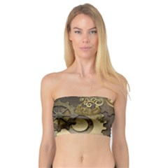 Steampunk, Golden Design With Clocks And Gears Women s Bandeau Tops