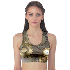 Steampunk, Golden Design With Clocks And Gears Sports Bra