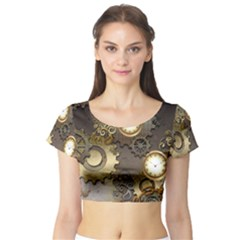 Steampunk, Golden Design With Clocks And Gears Short Sleeve Crop Top