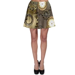Steampunk, Golden Design With Clocks And Gears Skater Skirts