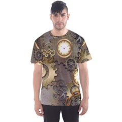 Steampunk, Golden Design With Clocks And Gears Men s Sport Mesh Tees