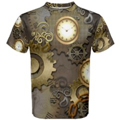 Steampunk, Golden Design With Clocks And Gears Men s Cotton Tees