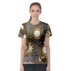 Steampunk, Golden Design With Clocks And Gears Women s Sport Mesh Tees