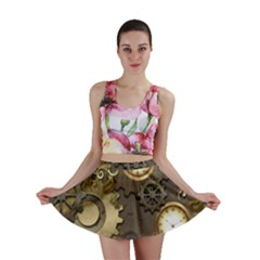 Steampunk, Golden Design With Clocks And Gears Mini Skirts
