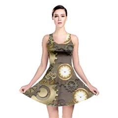 Steampunk, Golden Design With Clocks And Gears Reversible Skater Dresses