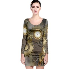 Steampunk, Golden Design With Clocks And Gears Long Sleeve Bodycon Dresses
