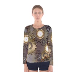 Steampunk, Golden Design With Clocks And Gears Women s Long Sleeve T-shirts