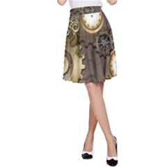 Steampunk, Golden Design With Clocks And Gears A Line Skirts
