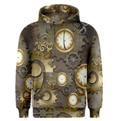 Steampunk, Golden Design With Clocks And Gears Men s Pullover Hoodies