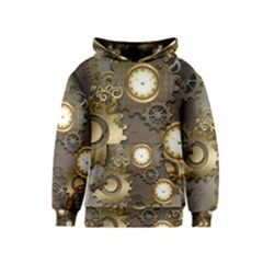 Steampunk, Golden Design With Clocks And Gears Kid s Pullover Hoodies