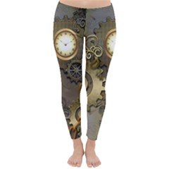 Steampunk, Golden Design With Clocks And Gears Winter Leggings