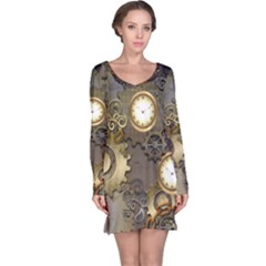 Steampunk, Golden Design With Clocks And Gears Long Sleeve Nightdresses