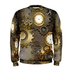 Steampunk, Golden Design With Clocks And Gears Men s Sweatshirts