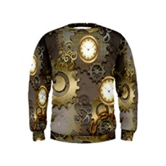 Steampunk, Golden Design With Clocks And Gears Boys  Sweatshirts