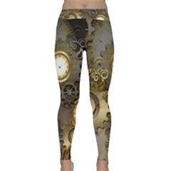 Steampunk, Golden Design With Clocks And Gears Yoga Leggings