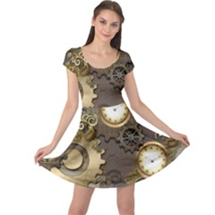 Steampunk, Golden Design With Clocks And Gears Cap Sleeve Dresses