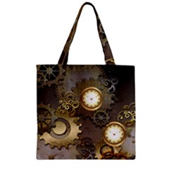 Steampunk, Golden Design With Clocks And Gears Zipper Grocery Tote Bags