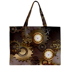 Steampunk, Golden Design With Clocks And Gears Zipper Tiny Tote Bags