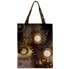 Steampunk, Golden Design With Clocks And Gears Zipper Classic Tote Bags