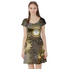 Steampunk, Golden Design With Clocks And Gears Short Sleeve Skater Dresses