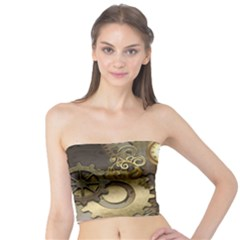 Steampunk, Golden Design With Clocks And Gears Women s Tube Tops