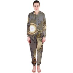 Steampunk, Golden Design With Clocks And Gears Hooded Jumpsuit (Ladies)