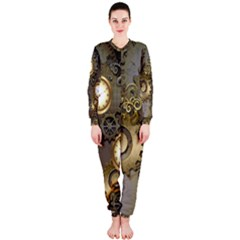 Steampunk, Golden Design With Clocks And Gears OnePiece Jumpsuit (Ladies)