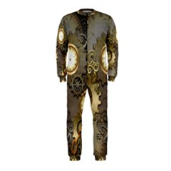 Steampunk, Golden Design With Clocks And Gears Onepiece Jumpsuit (kids)