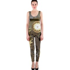 Steampunk, Golden Design With Clocks And Gears OnePiece Catsuits