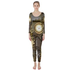 Steampunk, Golden Design With Clocks And Gears Long Sleeve Catsuit