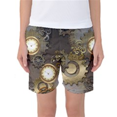 Steampunk, Golden Design With Clocks And Gears Women s Basketball Shorts