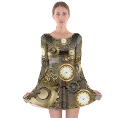 Steampunk, Golden Design With Clocks And Gears Long Sleeve Skater Dress