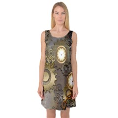 Steampunk, Golden Design With Clocks And Gears Sleeveless Satin Nightdresses