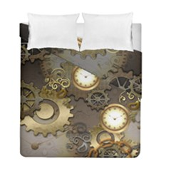 Steampunk, Golden Design With Clocks And Gears Duvet Cover (twin Size)