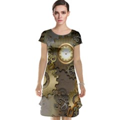 Steampunk, Golden Design With Clocks And Gears Cap Sleeve Nightdresses