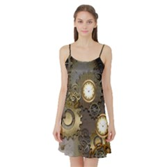 Steampunk, Golden Design With Clocks And Gears Satin Night Slip