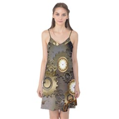 Steampunk, Golden Design With Clocks And Gears Camis Nightgown