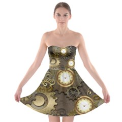 Steampunk, Golden Design With Clocks And Gears Strapless Bra Top Dress