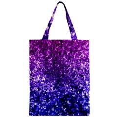 Midnight Glitter Zipper Classic Tote Bags