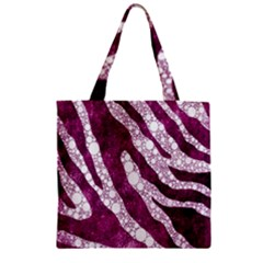 Purple Zebra Print Bling Pattern  Zipper Grocery Tote Bags