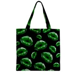 Sassy Florescent Green Lips Zipper Grocery Tote Bags