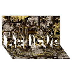 Metal Steampunk  BELIEVE 3D Greeting Card (8x4)