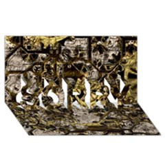 Metal Steampunk  SORRY 3D Greeting Card (8x4)