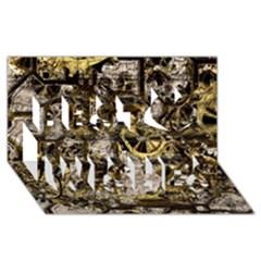 Metal Steampunk  Best Wish 3d Greeting Card (8x4)