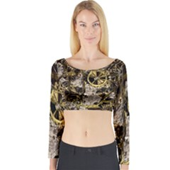 Metal Steampunk  Long Sleeve Crop Top