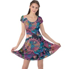 Steampunk Abstract Cap Sleeve Dresses
