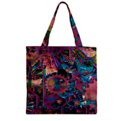 Steampunk Abstract Zipper Grocery Tote Bags