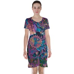 Steampunk Abstract Short Sleeve Nightdresses